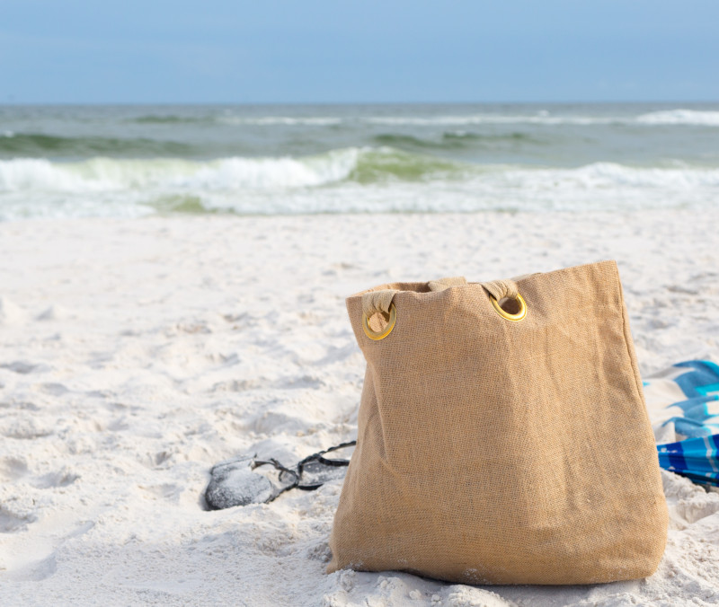 Beach bag on Alabama's white-sand beaches