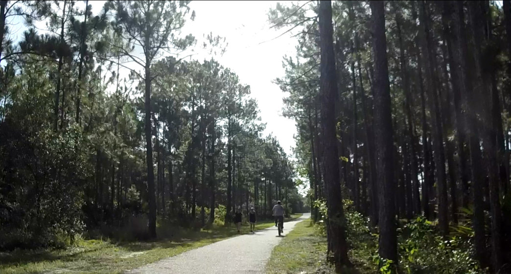 The Fort Morgan Road Trail is a wide, paved path that's a great place for a family ride.