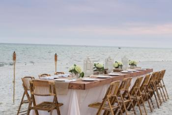 wedding reception set up on the beach in Orange Beach AL