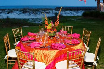 beautiful tablescape overlooking the beach of Orange Beach Al