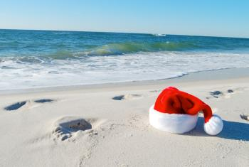 Santa Hat on Alabama's white sand beaches