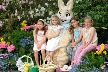 Easter Bunny with girls at Bellingrath Gardens and Home