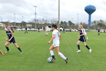 Girls play soccer in Gulf Shores AL