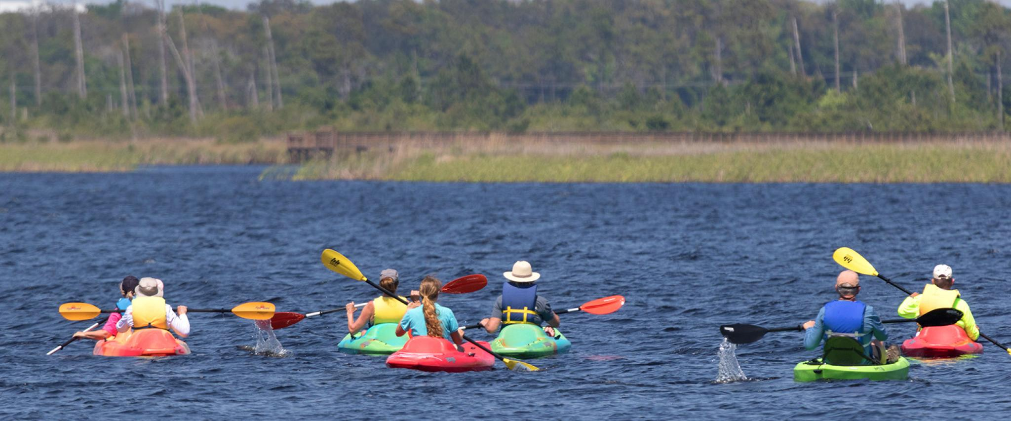 Group of Kayakers on Alabama Gulf Coast
