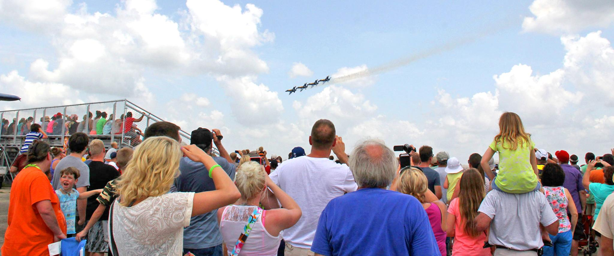 Audience watches Blue Angels Practice