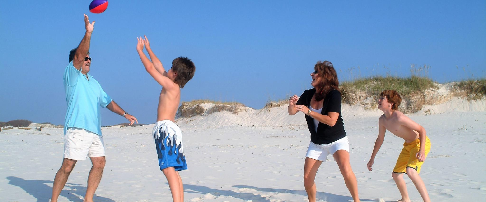 Family football on Orange Beach