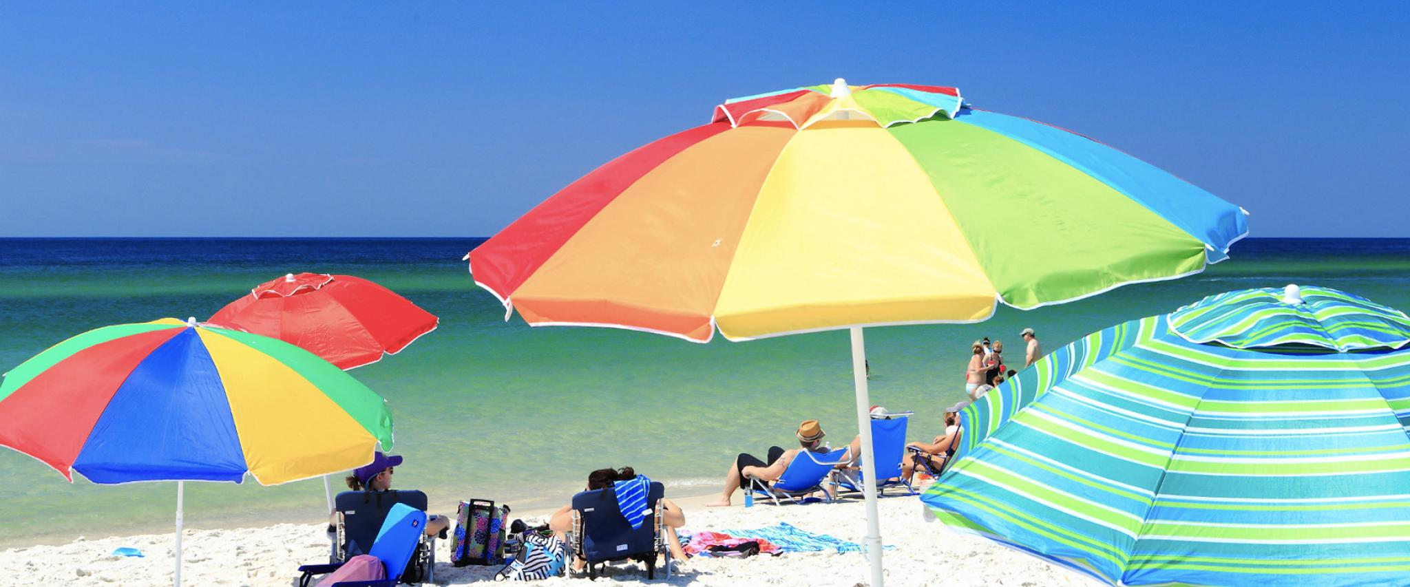 Umbrellas on Alabama's white sand beaches