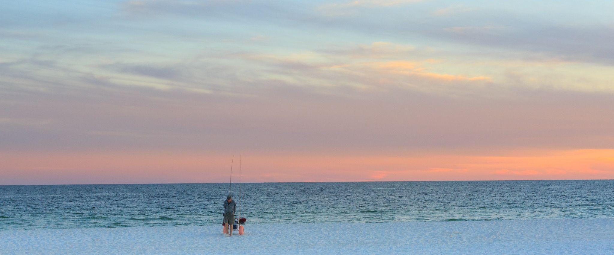 Shore fishing on the beach in Gulf Shores AL