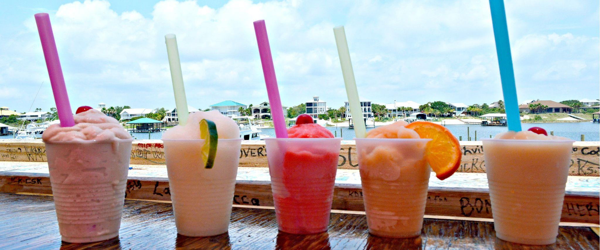 Frozen drinks overlooking the water in Orange Beach AL