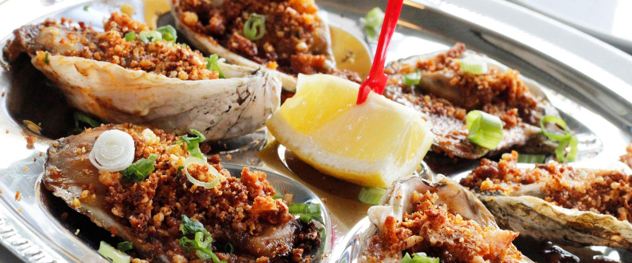 Baked oysters at Fisher's at Orange Beach Marina in Orange Beach, AL