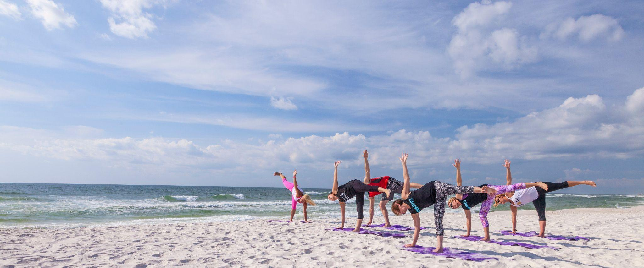 Yoga class on Alabama's beaches