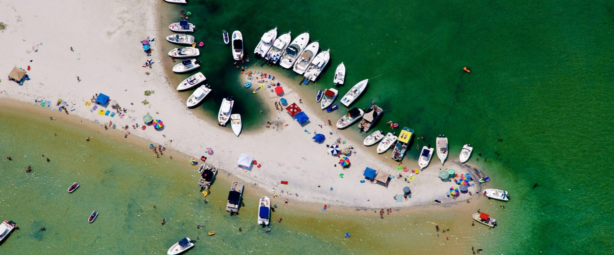 Boats at Bird Island in Orange Beach, AL