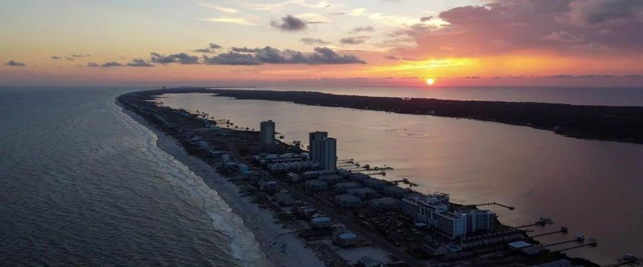 Aerial sunset in Orange Beach, AL