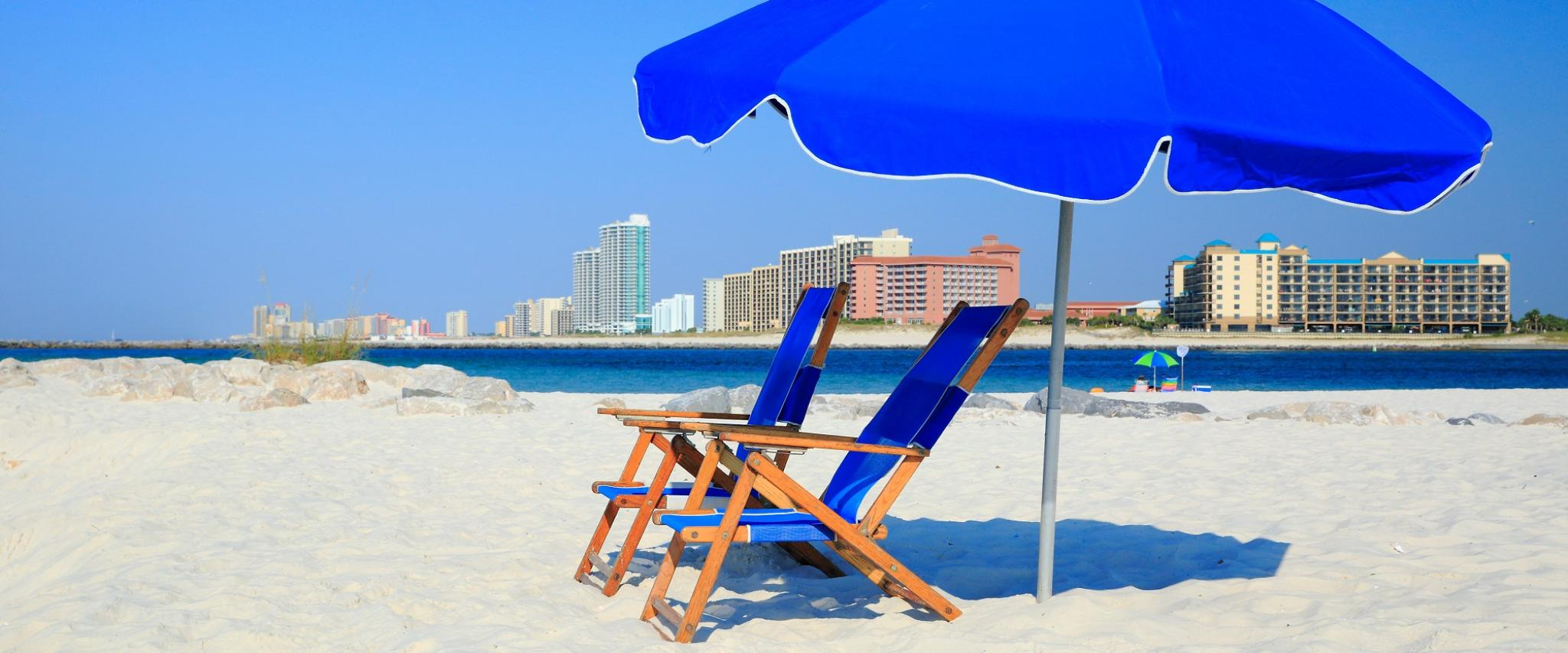 Relax beneath an umbrella this Labor Day Weekend in Gulf Shores and Orange Beach