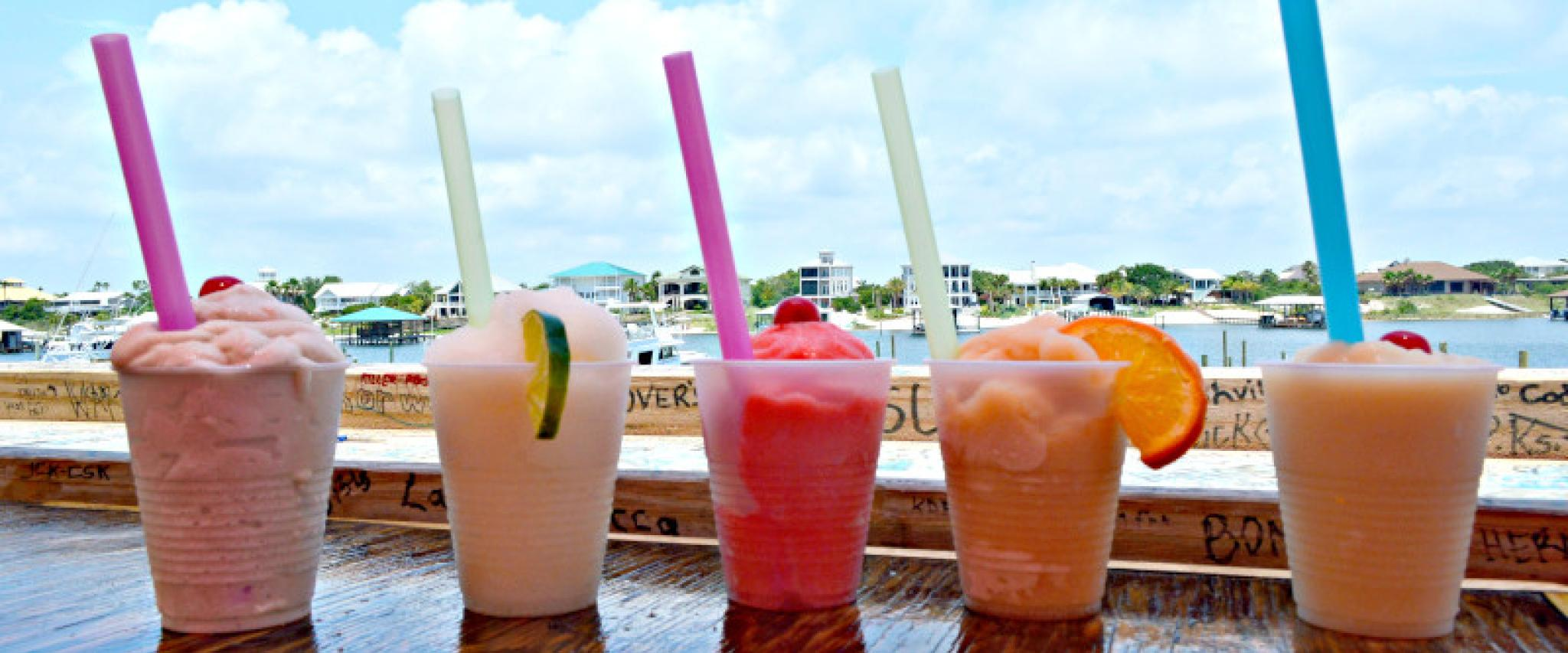 Frozen drinks at the Flora-Bama Ole River Bar & Grill
