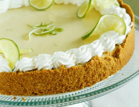 Key lime pie on a tray